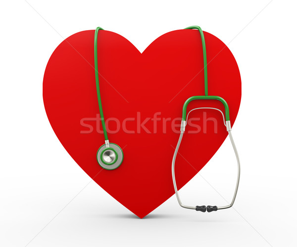 Stock photo: 3d heart and stethoscope illustration