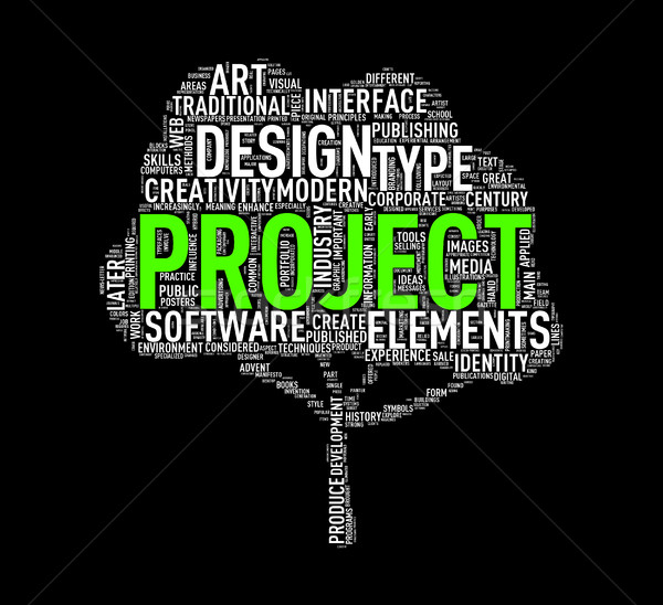 Tree shape wordcloud project Stock photo © nasirkhan
