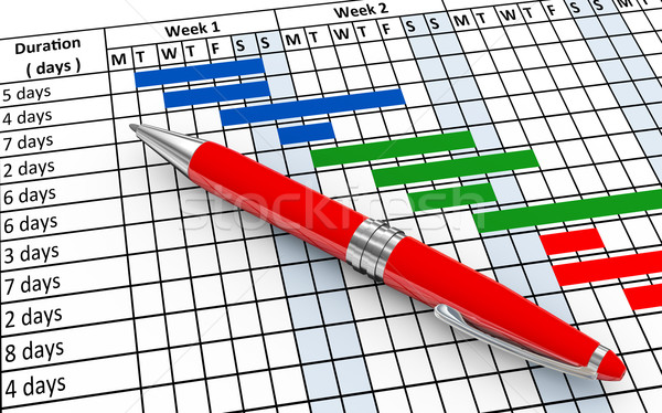 3d pen and gantt chart Stock photo © nasirkhan