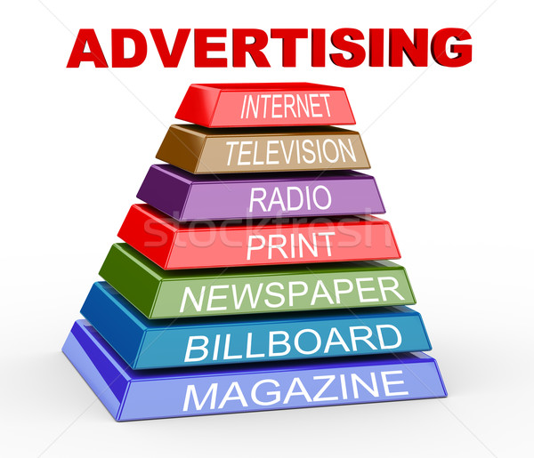 3d pyramid of advertising media Stock photo © nasirkhan