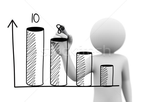 3d person drawing 3d progress bar chart Stock photo © nasirkhan