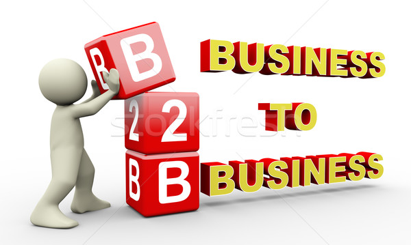 3d man and b2b cubes Stock photo © nasirkhan