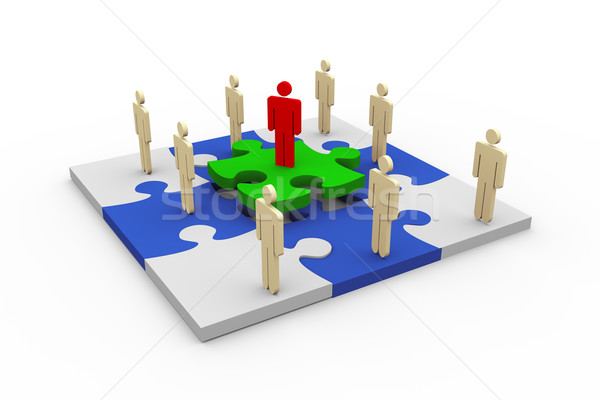 3d people on puzzle Stock photo © nasirkhan