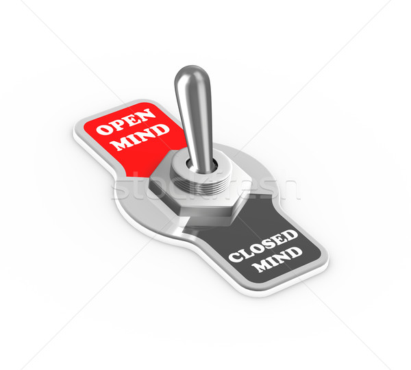 3d open close mind toggle switch button Stock photo © nasirkhan