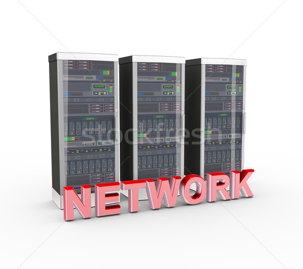 3d text network and computer network servers Stock photo © nasirkhan