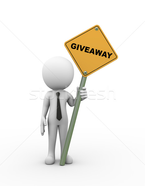 3d man holding giveaway roadsign Stock photo © nasirkhan