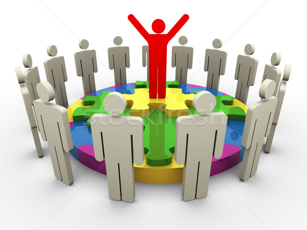 3d leader on circular shape puzzle Stock photo © nasirkhan