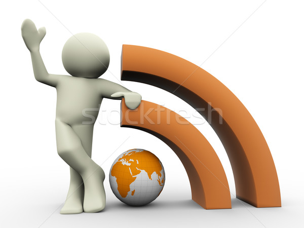 Stock photo: 3d man with rss globe