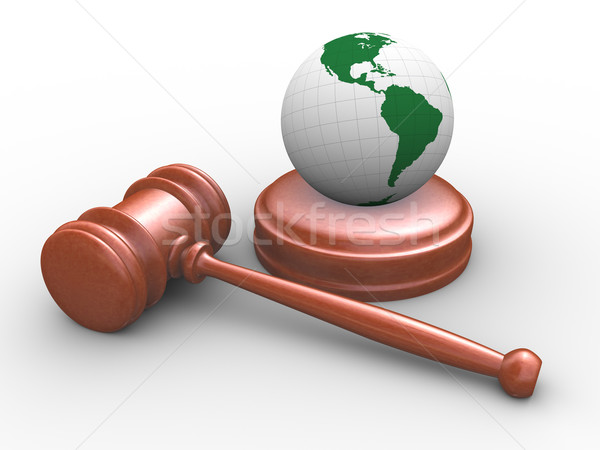3d Judicial gavel and globe Stock photo © nasirkhan