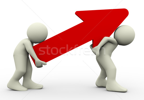 3d people carrying red arrow Stock photo © nasirkhan