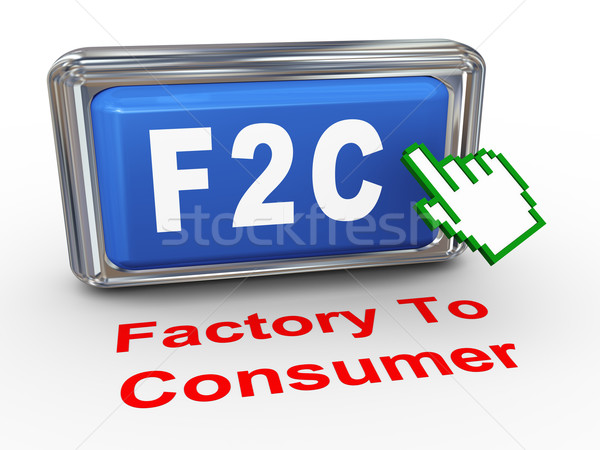3d hand cursor f2c factory to consumer button Stock photo © nasirkhan