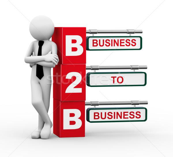 3D бизнесмен b2b указатель иллюстрация Сток-фото © nasirkhan