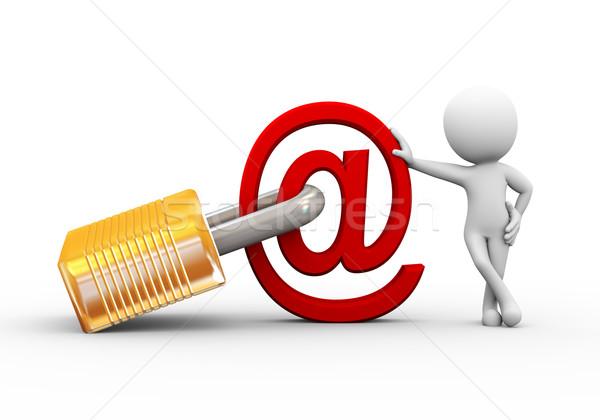 3d человек заблокированный электронная почта знак 3D Сток-фото © nasirkhan
