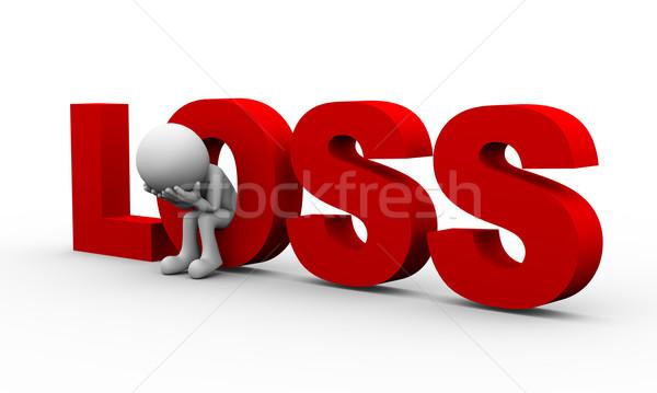 3d sad man and word loss Stock photo © nasirkhan