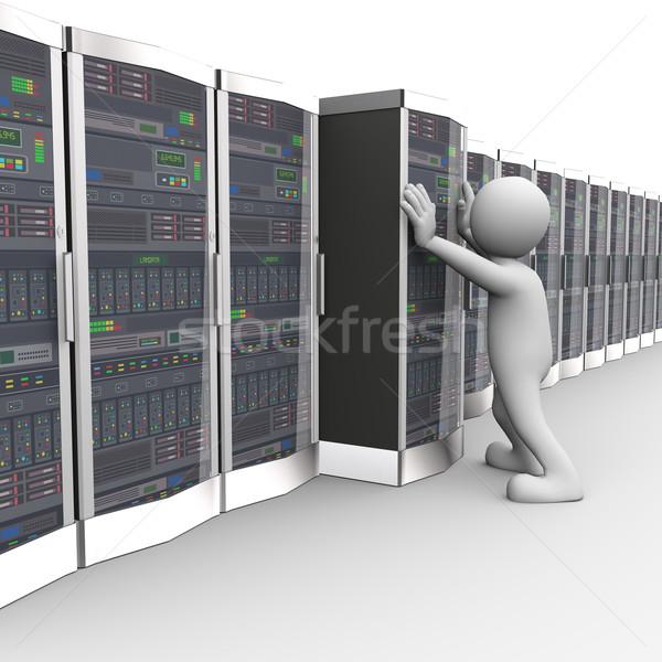 3d man working in computer network server room Stock photo © nasirkhan
