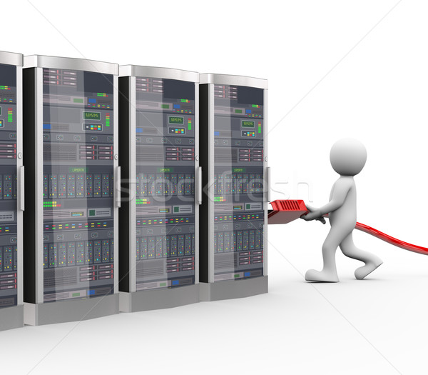3d man server connection with usb connector Stock photo © nasirkhan