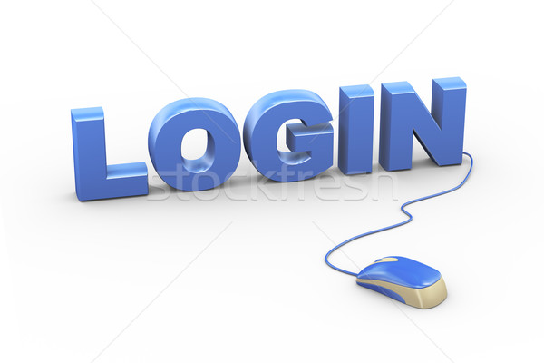 3d mouse attached to word text login Stock photo © nasirkhan