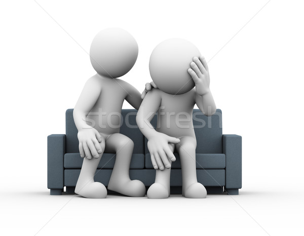 3d man supporting help to depressed sad person  Stock photo © nasirkhan