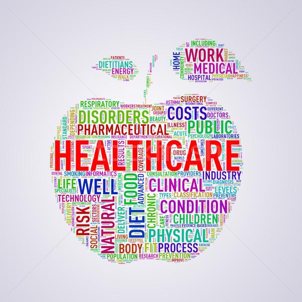 Healthcare apple shape wordcloud healthcare Stock photo © nasirkhan