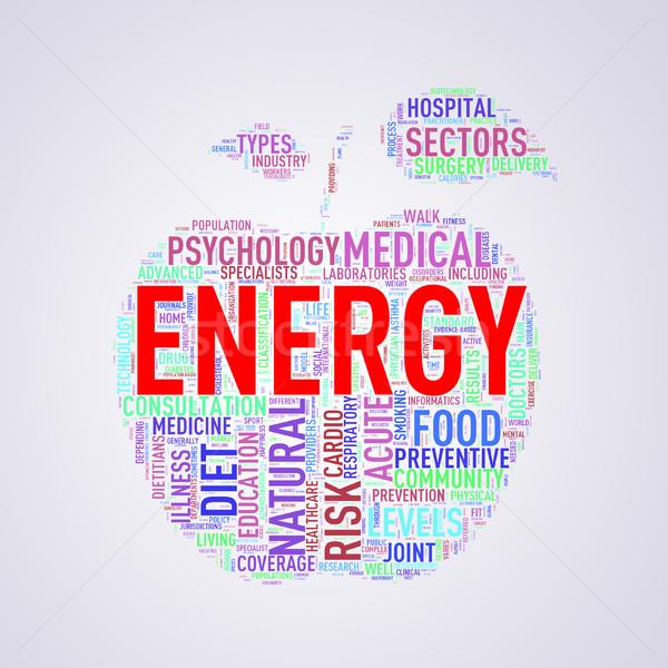 Healthcare apple shape wordcloud energy Stock photo © nasirkhan