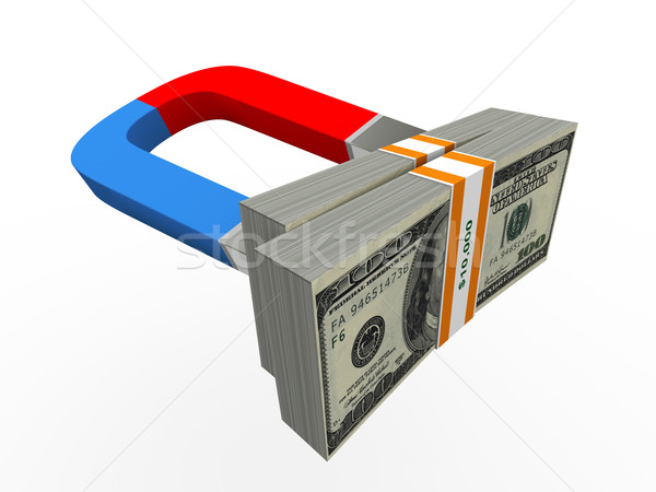 Stok fotoğraf: 3D · mıknatıs · para · dolar · paketlemek
