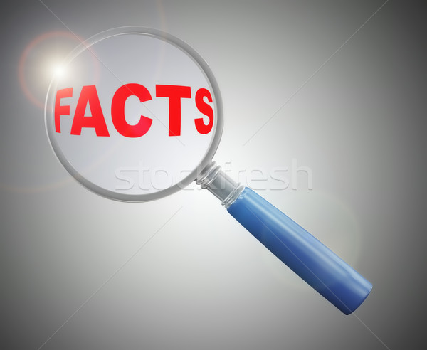 3d magnifier over word facts Stock photo © nasirkhan