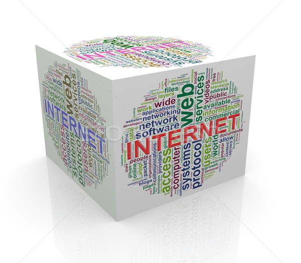 3d cube word tags wordcloud of internet Stock photo © nasirkhan