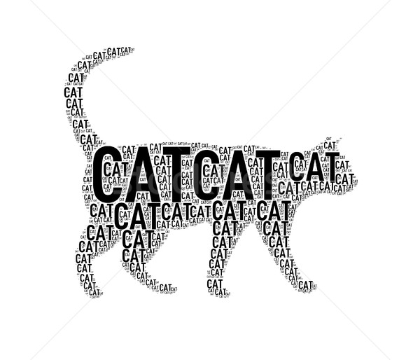 Cat Shape Wordcloud Typography Stock Photo Nasir Khan