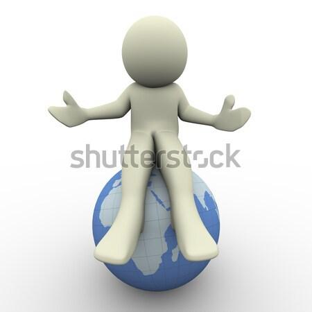 Foto stock: O · homem · 3d · sessão · globo · 3d · render · homem · ilustração · 3d