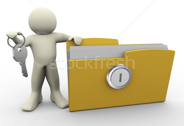 3d man with protected folder Stock photo © nasirkhan