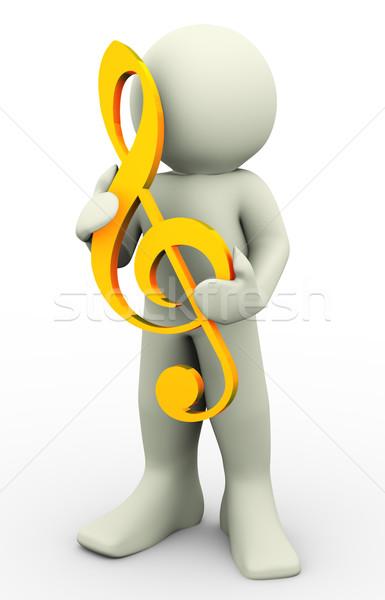Foto stock: O · homem · 3d · música · contagem · homem · chave