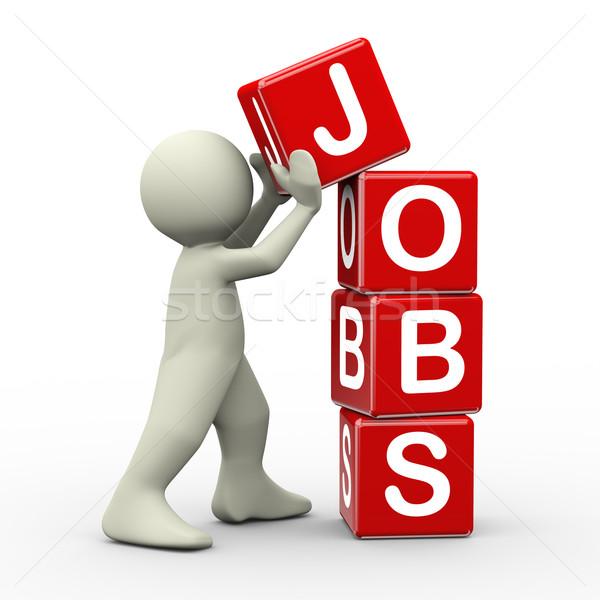 3d man placing jobs cubes Stock photo © nasirkhan