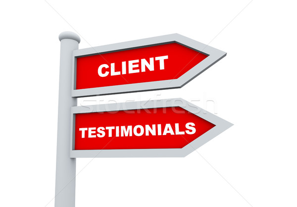 3d client testimonials road sign Stock photo © nasirkhan