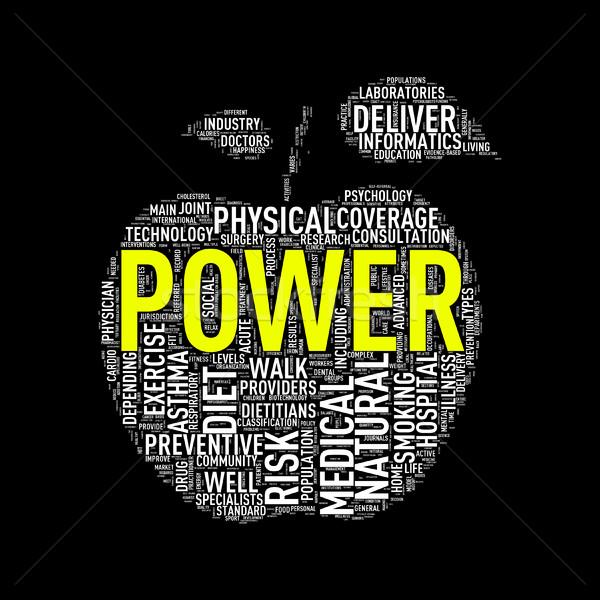 Healthcare apple shape wordcloud power Stock photo © nasirkhan