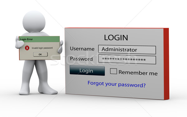 3d man holding invalid login message Stock photo © nasirkhan