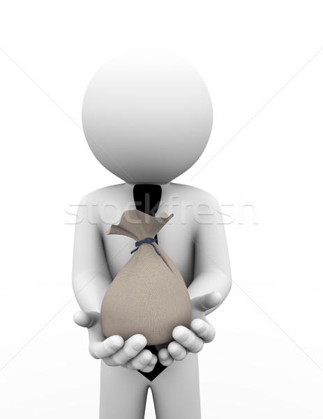 Stock photo: 3d business man holding bag illustration
