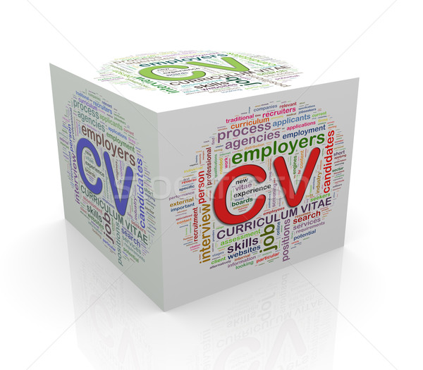 3d cube word tags wordcloud of cv Stock photo © nasirkhan