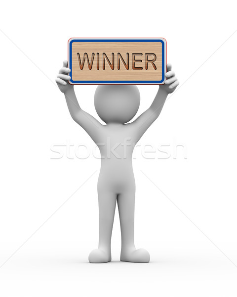 3d man holding engraved banner word text winner Stock photo © nasirkhan