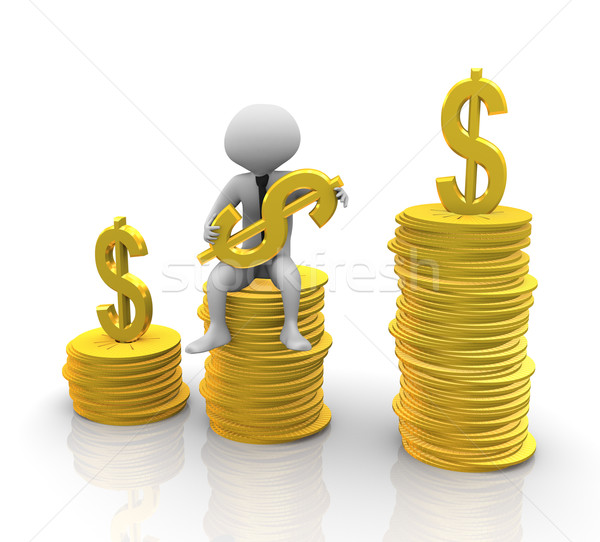 Stock photo: 3d man sitting on stack of coins