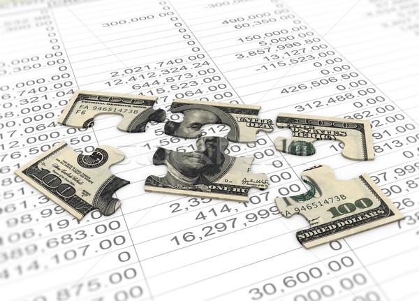 3D Dolar puzzle netto społeczności rachunkowości Zdjęcia stock © nasirkhan