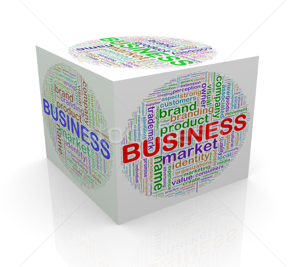 3D kubus woord business Stockfoto © nasirkhan