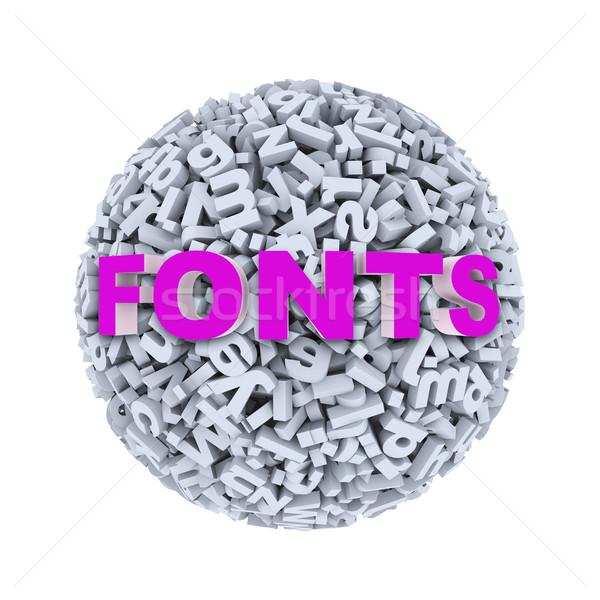 3d fonts - alphabet letter character sphere ball stock photo