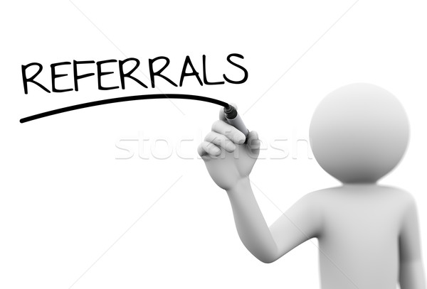 Stock photo: 3d person writing referrals on transparent screen