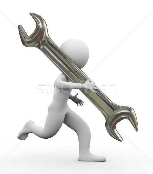 3d man and wrench Stock photo © nasirkhan