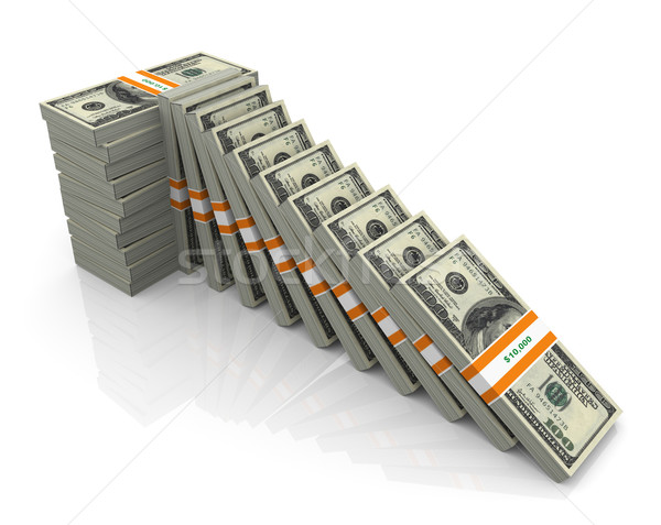 Stock photo: 3d support for falling dollar