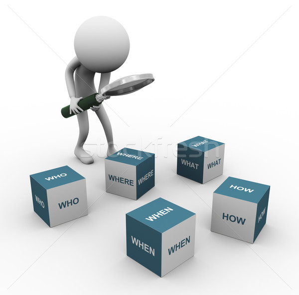 3d man and question words cubes Stock photo © nasirkhan