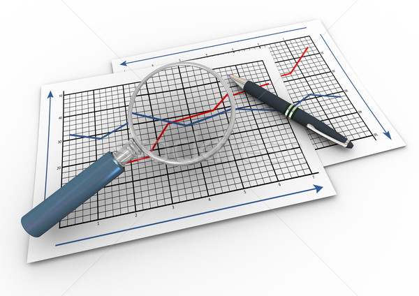 3d magnifier and graph Stock photo © nasirkhan