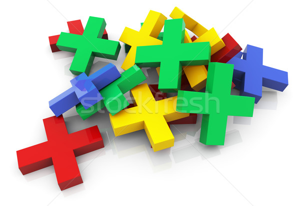 3d colorful plus sign Stock photo © nasirkhan