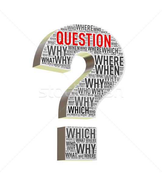 3d question mark shape wordcloud wordtags Stock photo © nasirkhan