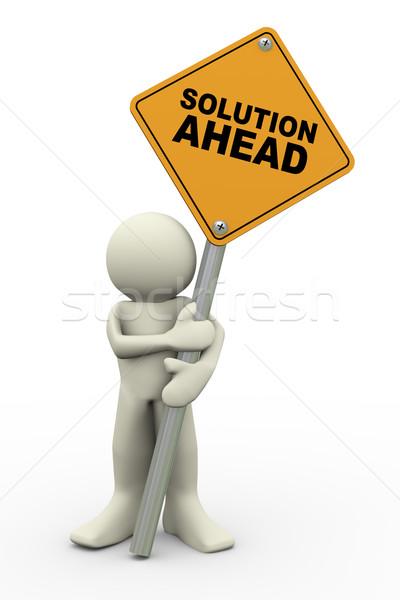3d человек решения впереди знак совета 3d иллюстрации Сток-фото © nasirkhan